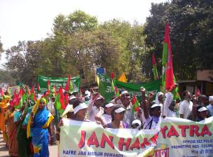 People marching against displacement, SEZ and Communal fascism