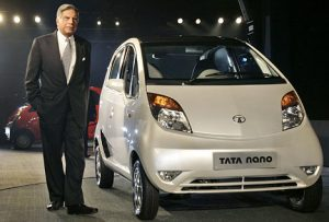 Ratan Tata with his Nano car