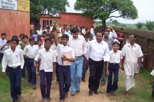 Children protesting in front of school