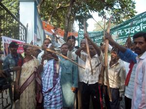 Adivasis protesting against displacement at Jamshedpur